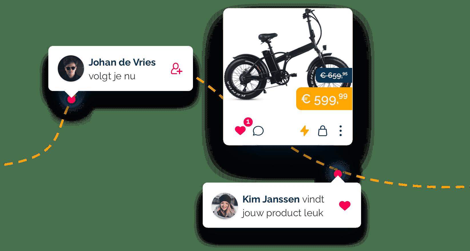 Volg andere gebruikers en like items